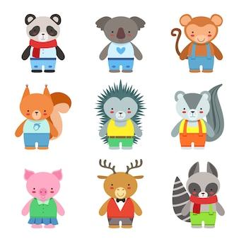 Animais de brinquedo vestidos como conjunto de caracteres de crianças