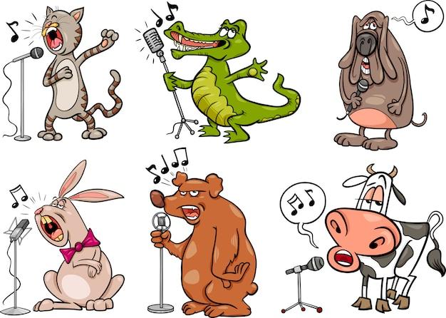 Animais de canto criam ilustração de desenho animado
