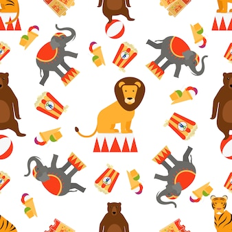 Animais de circo e comida sem costura padrão