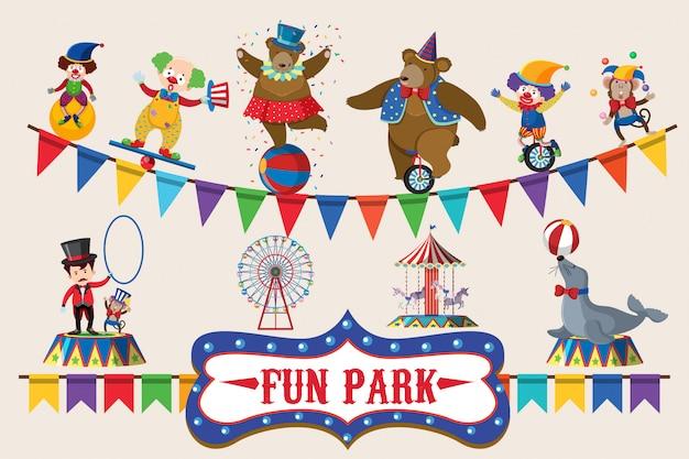 Animais de circo no design de cartaz