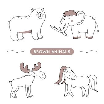 Animais de contorno marrom isolados.