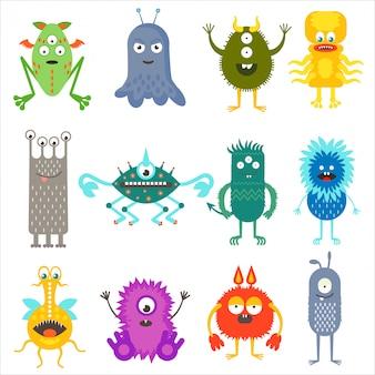 Animais de cor bonito dos desenhos animados monstros alienígenas conjunto