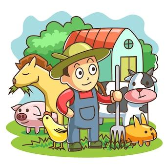 Animais de criação de fazendeiro