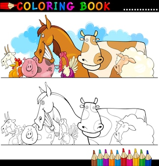 Animais de criação e pecuária para colorir