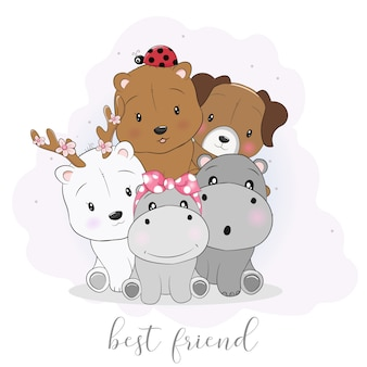 Animais de desenho animado bonito melhor amigo
