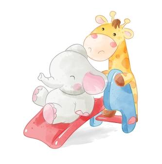 Animais de desenho animado brincando de ilustração de slide