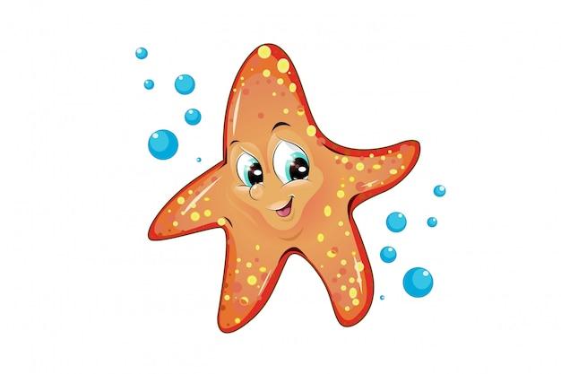 Animais de desenho animado estrela do mar fofos e engraçados