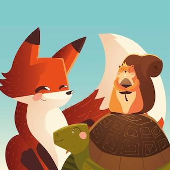 Animais de desenho animado, tartaruga de raposa fofa com ilustração de esquilo