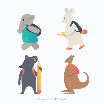 Animais de design plano voltando para a escola