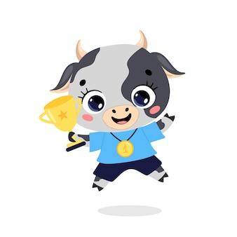 Animais de doodle plano bonito dos desenhos animados ostentam vencedores com medalha de ouro e taça. vencedor do esporte vaca touro