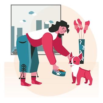 Animais de estimação com o conceito de cena de seus proprietários. mulher alimentando comida de cachorro no quarto. cuidar de animais de estimação, relacionamento com animais domésticos, atividades com pessoas. ilustração em vetor de personagens em design plano