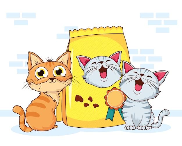 Animais de estimação de gatos fofos com personagens de bolsa de comida