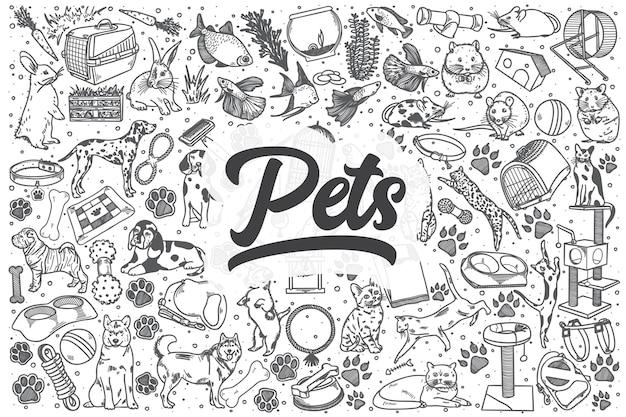 Animais de estimação de mão desenhada doodle conjunto. letras - animais de estimação