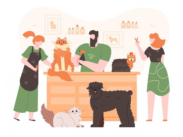 Animais de estimação no salão de beleza. os cães e gatos domésticos no casaco importam-se com o salão de beleza, povos que preparam, que lavam e que cortam animais de estimação ilustração colorida da pele. personagens de groomers de cães. salão de penteado animal