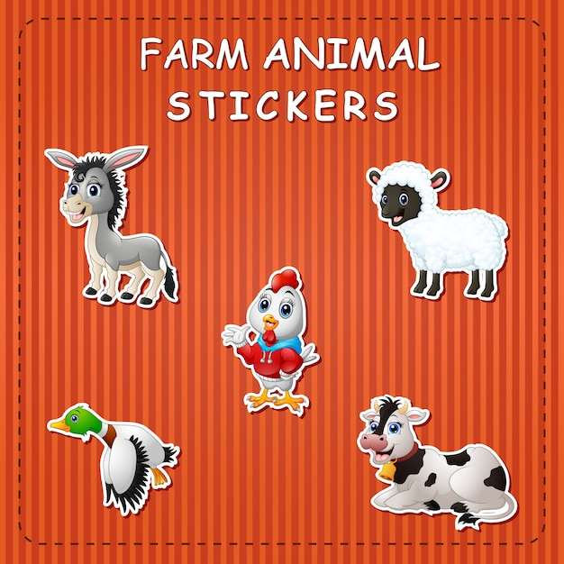Animais de fazenda bonito dos desenhos animados adesivo