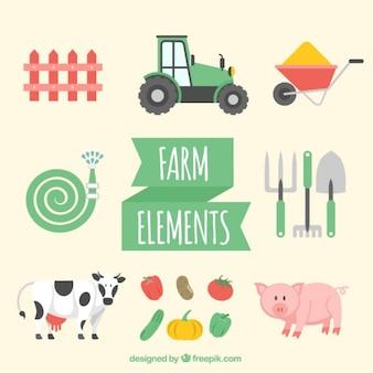 Animais de fazenda bonitos com ferramentas agrícolas