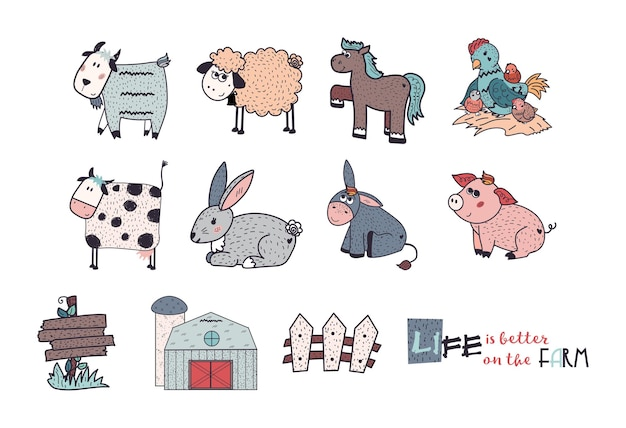 Animais de fazenda conjunto ovelha cabra vaca burro cavalo porco galinha galinha galinha galo coelho cerca ilustração plana