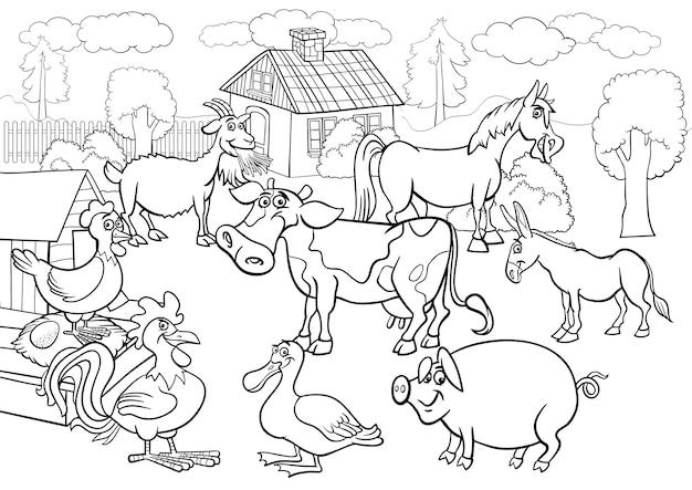 Animais de fazenda desenhos animados para colorir livro