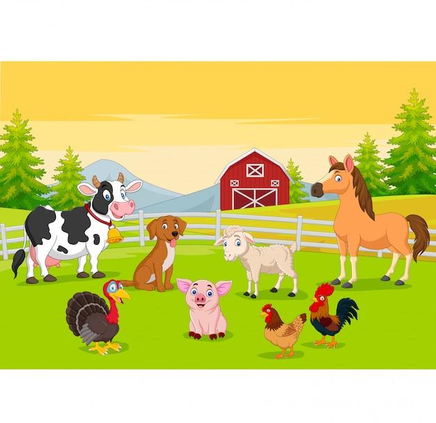 Animais de fazenda dos desenhos animados no fundo da agricultura