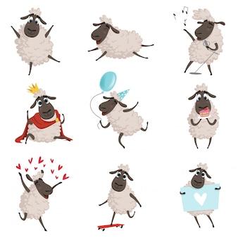 Animais de fazenda dos desenhos animados, ovelhas brincando e fazendo diferentes ações