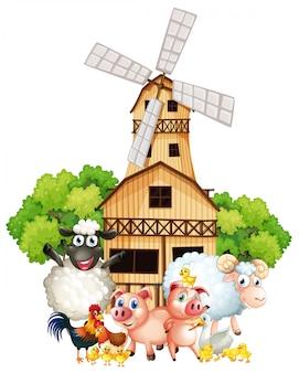 Animais de fazenda e moinho de vento