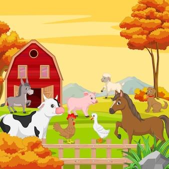 Animais de fazenda em uma paisagem de fazenda