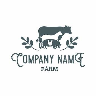 Animais de fazenda emblema rústico retro logo vector