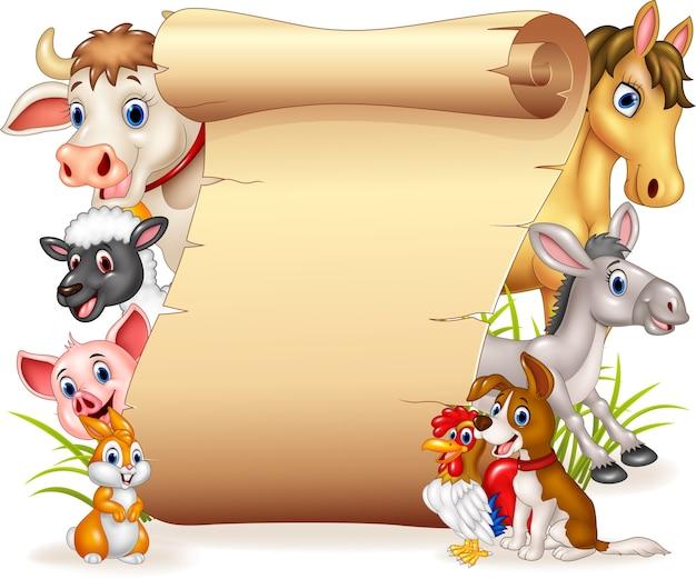 Animais de fazenda engraçada dos desenhos animados com sinal em branco