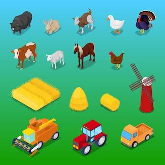 Animais de fazenda isométricos e transporte agrícola. ilustração 3d plana vetorial