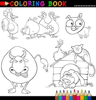 Animais de fazenda para colorir livro ou página