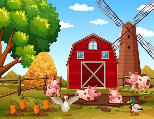 Animais de fazenda rural feliz