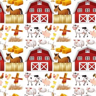 Animais de fazenda sem costura e celeiro vermelho