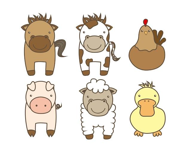 Animais de fazenda sobre ilustração vetorial de fundo branco