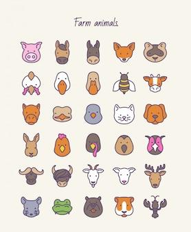 Animais de fazenda. vetor de contorno definido ícones.