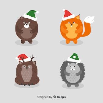 Animais de inverno com pack de chapéu