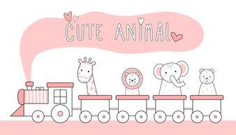 Animais de linha fina bonito dos desenhos animados doodle pastel