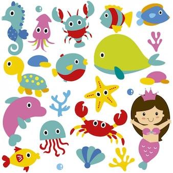 Animais de mar bonitos e sereia
