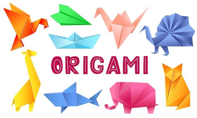 Animais de origami conjunto pássaro avião guindaste pavão girafa barco tubarão raposa elefante