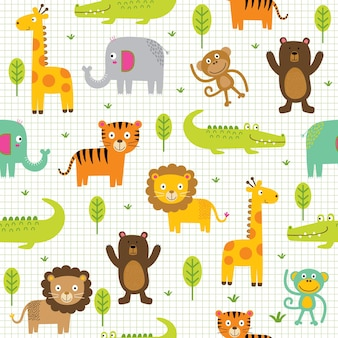 Animais de personagens fofinhos perfeitos na selva, zoológico de animais de desenho animado
