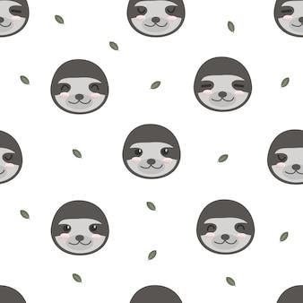Animais de preguiça engraçado adorável fofo desenho animado sem costura padrão papel de parede