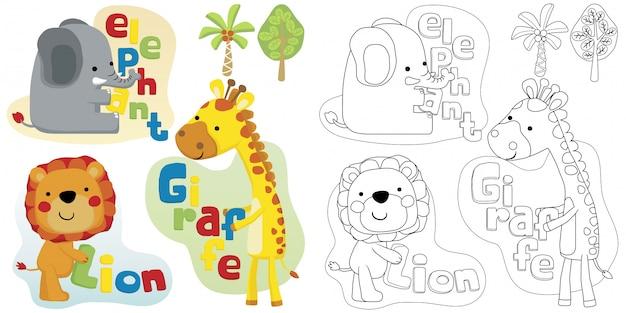 Animais de safari agradável com letra colorida