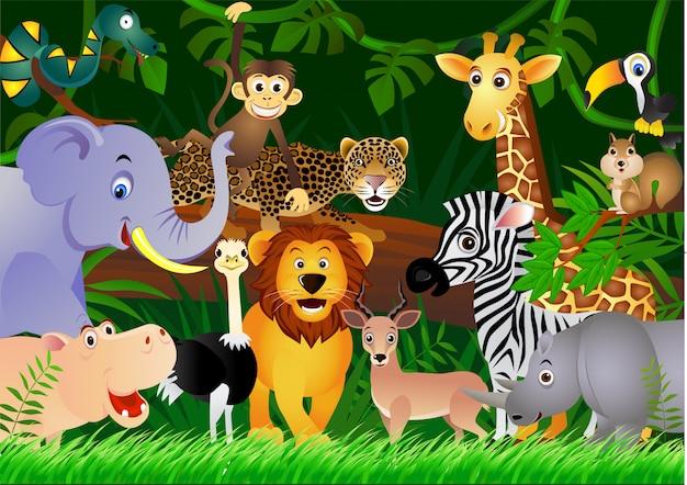 Animais de safari dos desenhos animados com fundo de floresta