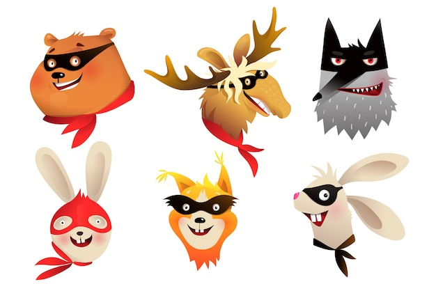 Animais de super-heróis separam retratos de cabeças usando máscara para design de festa a fantasia de crianças. ilustração de personagens corajosos para crianças em estilo aquarela.