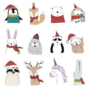 Animais desenhados à mão aproveitando as férias de natal