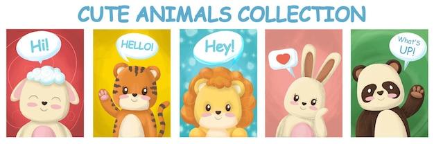 Animais desenhados com texto para adesivos