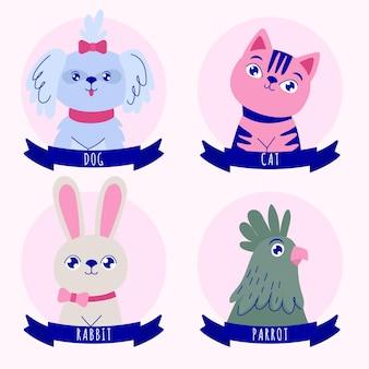 Animais diferentes com fitas azuis