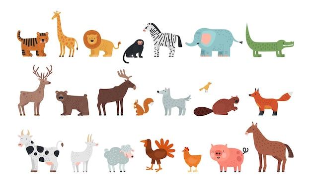 Animais diferentes. fauna da floresta de savana da fazenda, personagens isolados da vida selvagem. ilustração do vetor de lobo tigre urso veado esquilo, raposa e ovelha. selva africana, safári na áfrica, diferentes animais selvagens