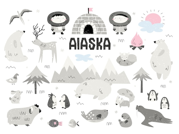 Animais do alasca e esquimós. grande conjunto de elementos, isolados, objetos. estilo scandi.