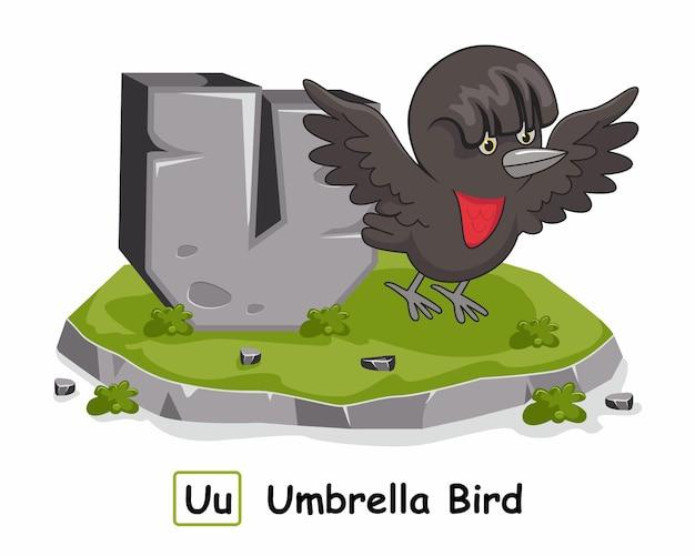 Animais do alfabeto de pedra do pássaro do guarda-chuva