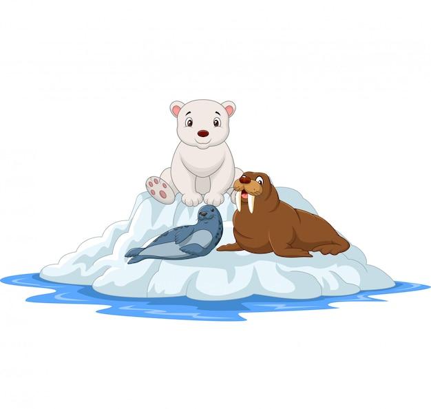 Animais do ártico dos desenhos animados em icebergs